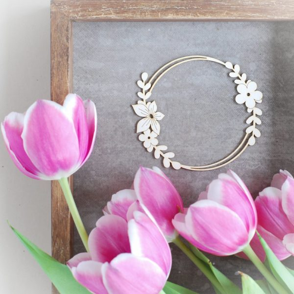 decorative laser cut chipboard frame with flowers and leaves