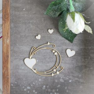 decorative laser cut chipboard frame with hearts and three small hearts
