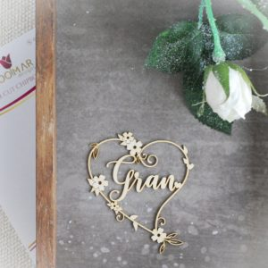 Gran heart decorative laser cut chipboard with flowers and tiny leaves
