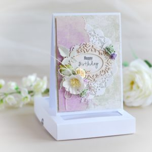 personalised luxury happy birthday card in green and purple decorated with laser cut chipboard frame and flowers