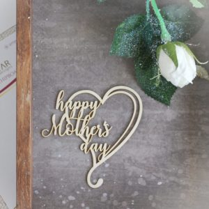 happy mother's day decorative laser cut chipboard heart