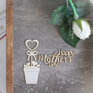 happy mother's day set of decorative laser cut chipboard word and heart pot