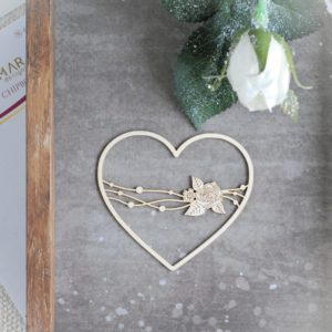 decorative laser cut chipboard heart with flower arragement