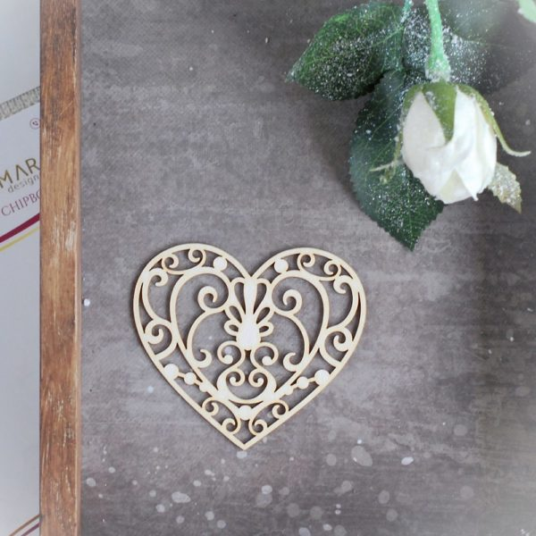 decorative laser cut chipboard heart with swirls