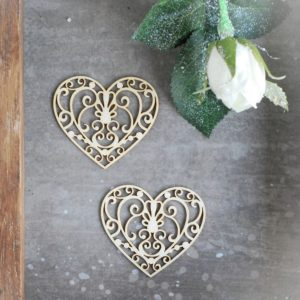 set of two laser cut chipboard hearts with swirls