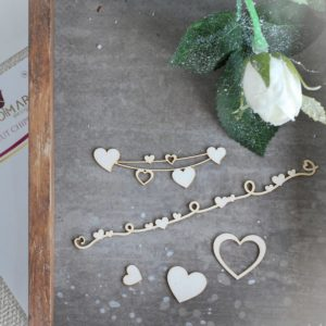 set of decorative laser cut chipboard heart elements, heart banners