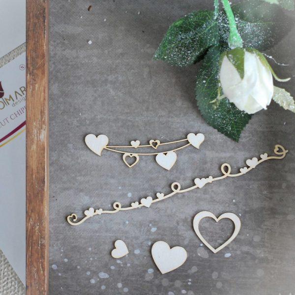set of decorative laser cut chipboard heart elements, heart banners