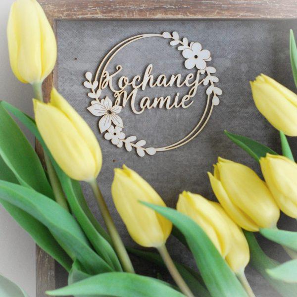 decorative laser cut kochanej mamie chipboard frame with flower arragements