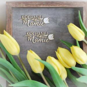 kochanej mamie set of decorative laser cut chipboard words with flower