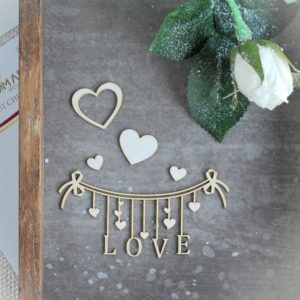 love banner with hearts decorative laser cut chipboard set