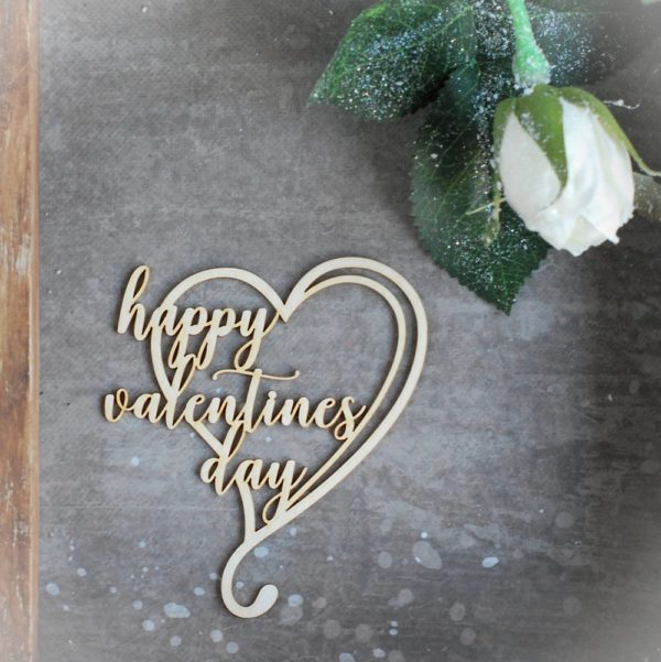 happy valentine's day decorative laser cut chipboard heart