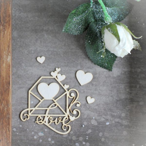 love envelope with hearts and swirl decorative laser cut chipboards