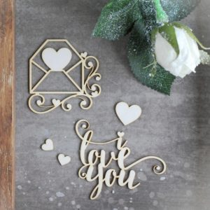 I love you, envelope and hearts decorative laser cut chipboard set