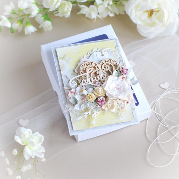 luxury love, wedding anniversary card with box decorated with flowers and laser cut chipboard elements