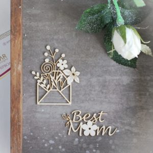 best mom set of decorative laser cut chipboard word and envelope with flowers