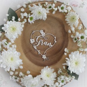 mothers day collection gran heart decorative laser cut chipboard