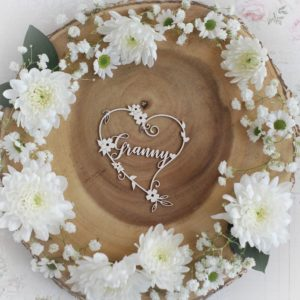 mothers day collection granny heart decorative laser cut chipboard