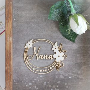Nana decorative laser cut chipboard frame with flowers and leaves