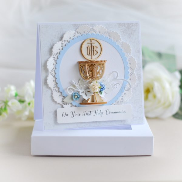 on your first holy communion card for a boy decorated with 3d laser cut chalice and flowers