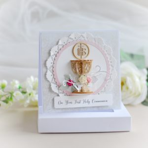 on you first holy communion card for a girl decorated with 3d laser cut chalice and flowers