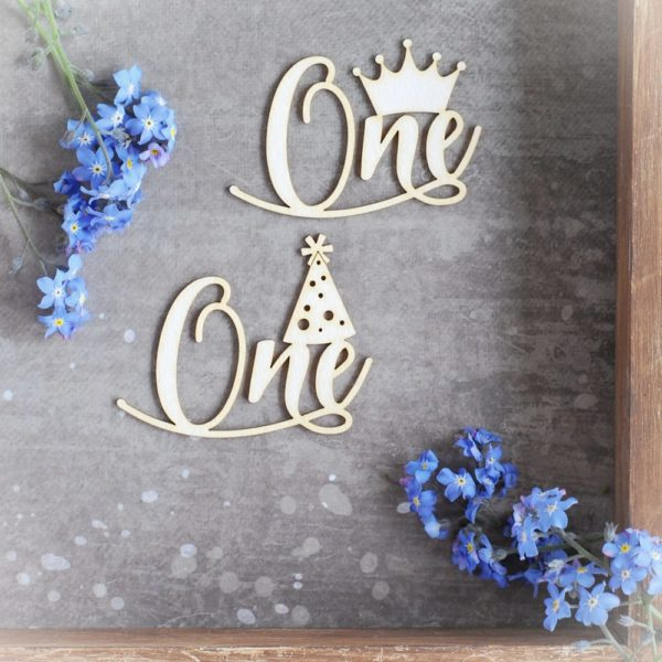 one with crown and one with party hat decorative laser cut chipboards set