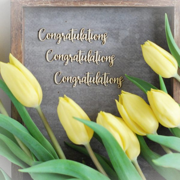 congratulations set of decorative laser cut chipboard words