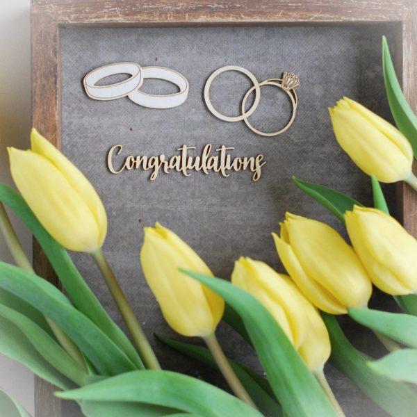 Wedding congratulationes rings decorative laser cut chipboards set of three