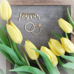 Together forever and wedding ringdecorative laser cut chipboard set of tw