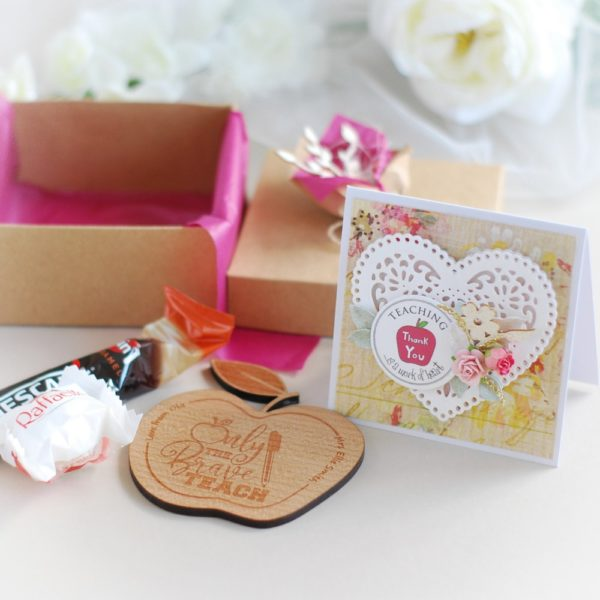 personalised thank you teacher teaching assistant gift box with wooden coaster, raffaello praline, coffee, card