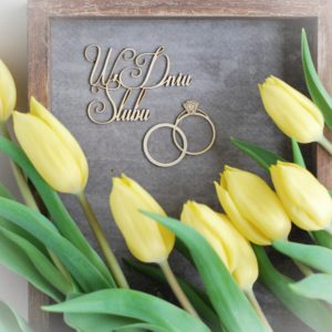 W dniu slubu decorative laser cut chipboards and wedding rings set of two