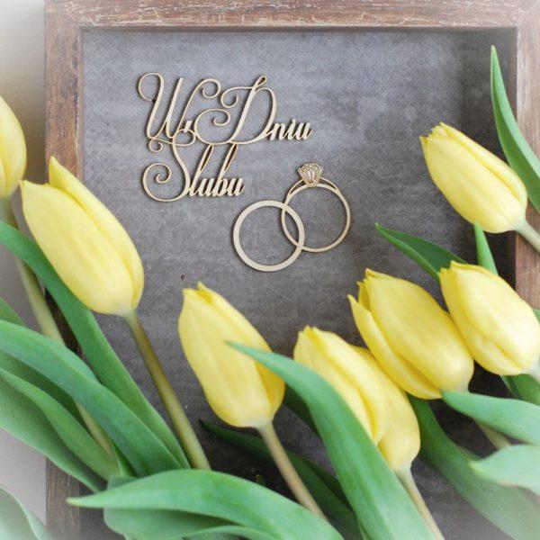 W dniu slubu decorative laser cut chipboards and wedding rings set of two