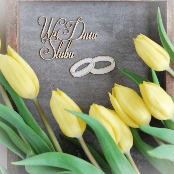 W dniu slubu decorative laser cut chipboard and wedding ring set of two