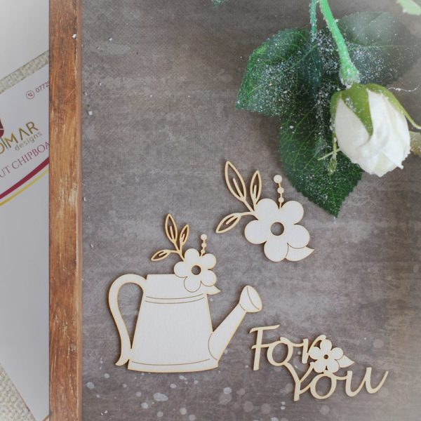 spring watering can laser cut chipboard set