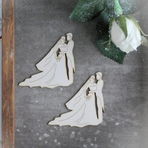 Wedding couple decorative laser cut chipboard set of two