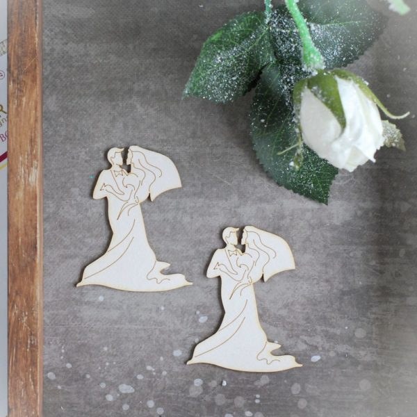 Wedding couple decorative laser cut chipboard set of two elements