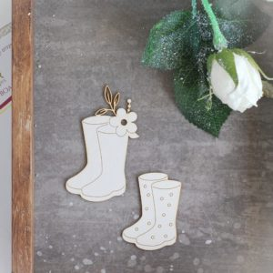 spring wellies laser cut chipboard set