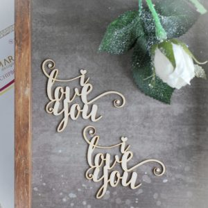 I love you decorative laser cut chipboard words set
