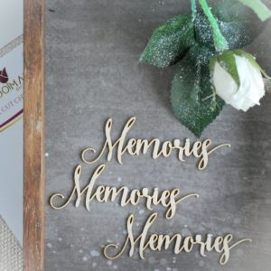memories set of decorative laser cut chipboard words
