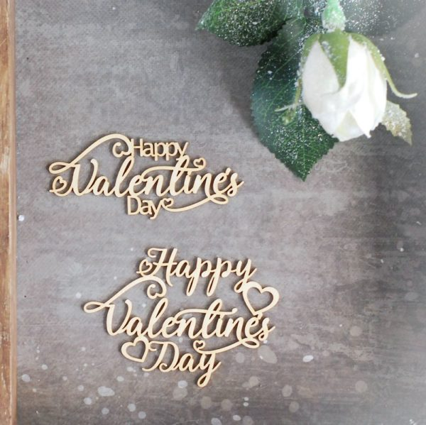 happy valentine's day - set of two decorative laser cut chipboard words