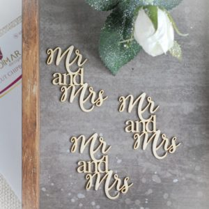 mr and mrs wedding decorative laser cut chipboard words