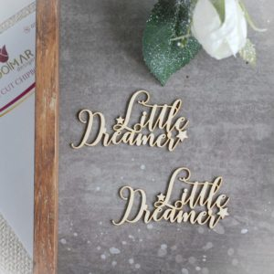 little dreamer set of decorative laser cut chipboard words