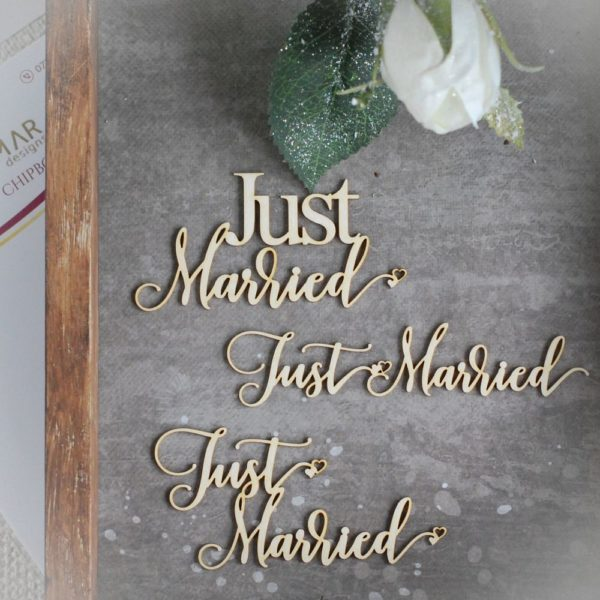 just married set of decorative laser cut chipboard words