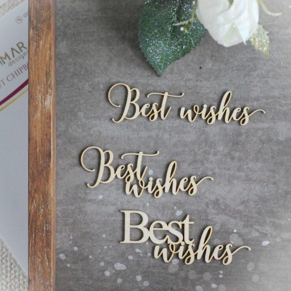 best wishes set of decorative laser cut chipboard words