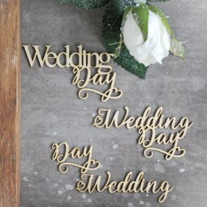 wedding day set of decorative laser cut chipboard words