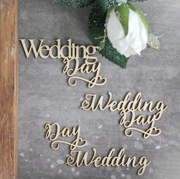 wedding day set of decorative laser cut chipboard words