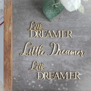 decorative laser cut chipboard words set little dreamer