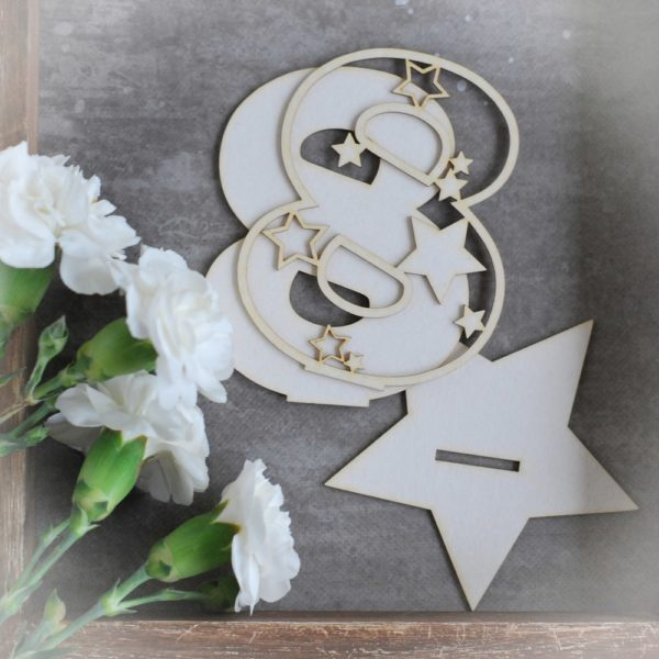 2d number eight with stars deorative laser cut chipboard