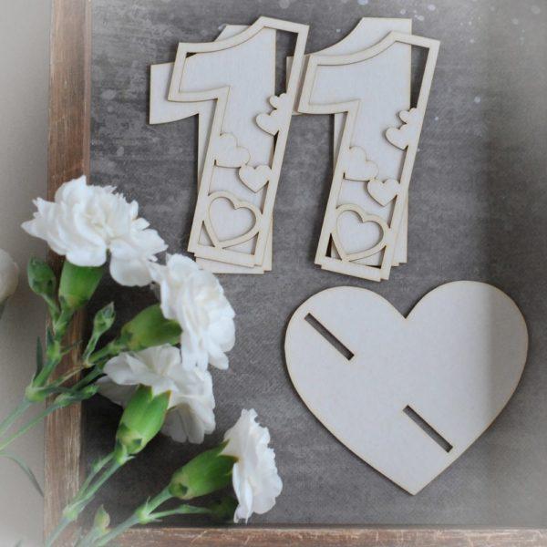 2d number eleven with hearts decorative laser cut chipboard