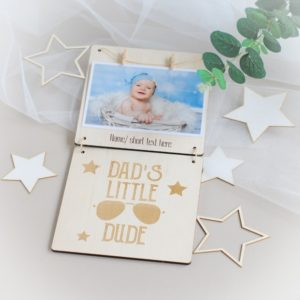 personalised fathers day photo frame dads little dude