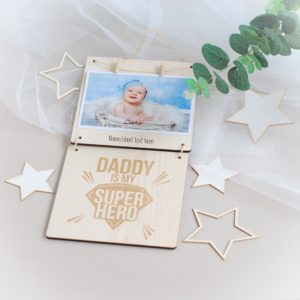 personalised fathers day wooden photo frame daddy is my superhero